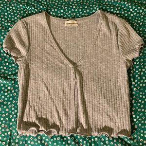 Gray Lettuce Trimmed UO Top